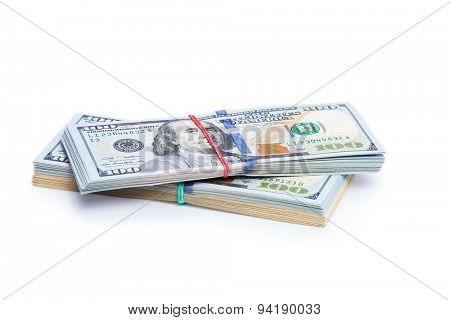 new 100 dollars bills close up