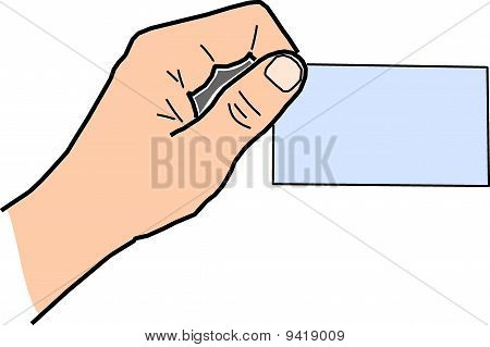 Hand with card