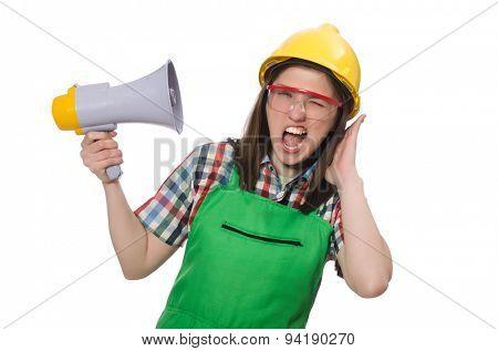 Woman wearing hard hat with loudspeaker