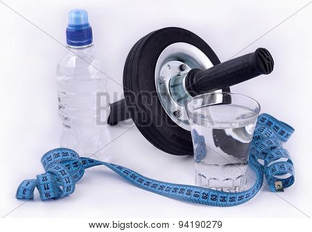 Bottle Of Water, Glass Of Water, Roller Wheel For Abdominals And