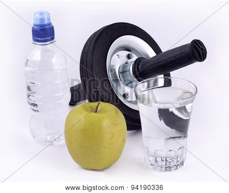 Bottle Of Water, Green Apple, Glass Of Water And Roller Wheel Fo