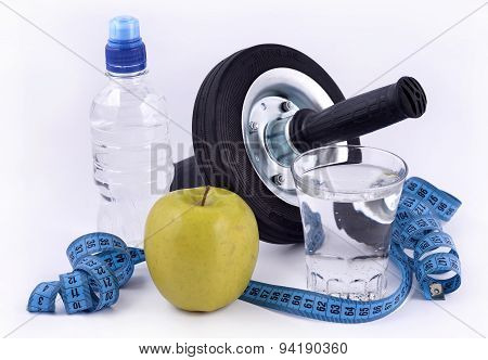 Bottle Of Water, Green Apple, Glass Of Water, Roller Wheel For A