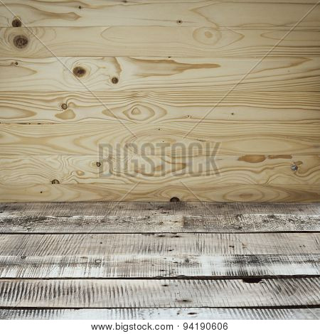 Wooden background. Detail of wooden walls and floor.