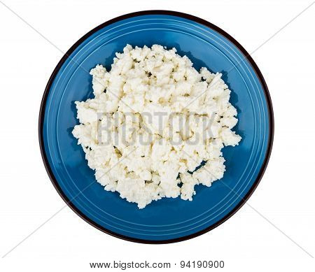 Granular Curd On Blue Glass Plate
