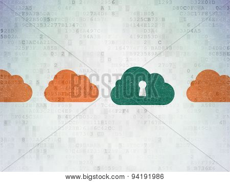 Cloud technology concept: cloud with keyhole icon on Digital