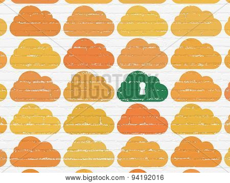 Cloud computing concept: cloud with keyhole icon on wall