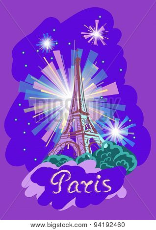 Vector Illustration Of The Eiffel Tower At Night With Fireworks