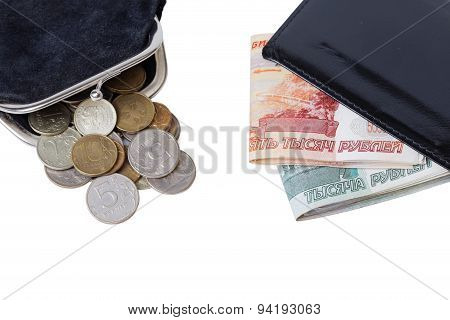 Purse With Coins And Wallet With Cash