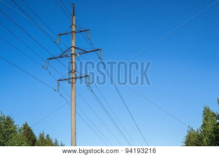High Concrete Support Column Of A Power Line