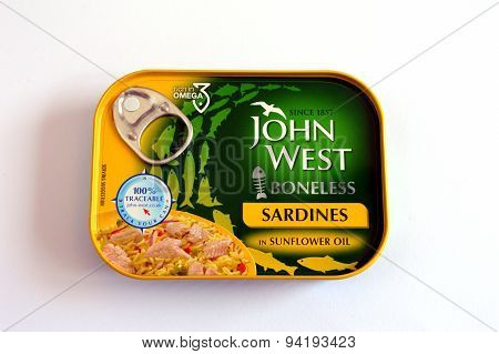 BRACKNELL, UK - JUNE 18 2015: John West Boneless Sardines in Sunflower Oil.