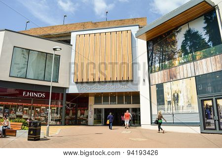 BRACKNELL, UK - JUNE 18 2015: Princess Square, Refurbished in 2014 as part of Bracknell Regeneration