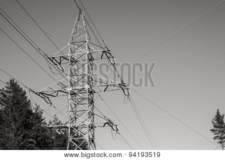 Iron Mast Of A Power Line Monochrome Color