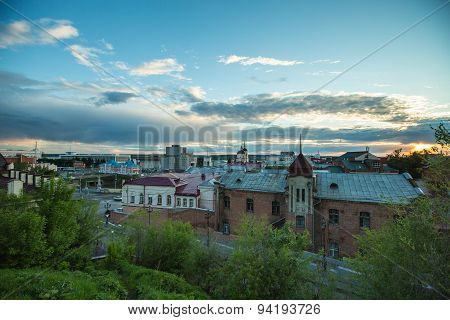 Top view of street in Tomsk, Russia