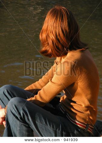 Red-Headed Girl By River