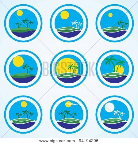 Palm Trees And Sun, Beach Resort Logo Design Template. Tropical Island Or Vacation Icon Set
