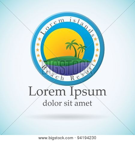Palm Trees And Sun, Beach Resort Logo Design Template. Tropical Island Or Vacation Icon