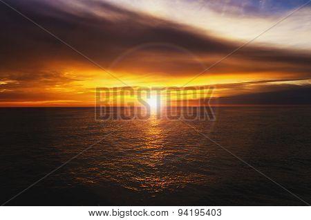 Beautiful Sunset Yellow Lens Flare