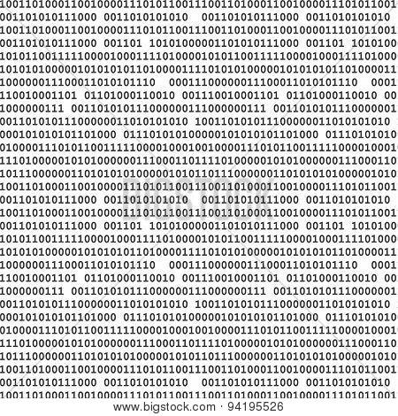 Binary Computer Code Seamless Pattern Vector Background Illustration Black