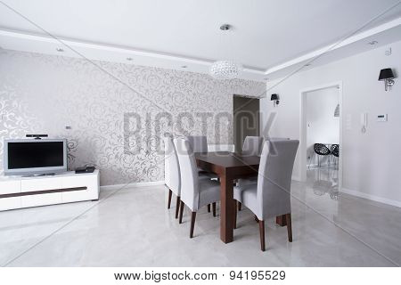 Bright Interior With Silver Walls