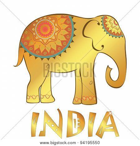 Vector Vintage Indian Elephant Illustration Isolated On White