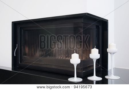 Close-up Of Fireplace In Living Room