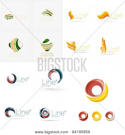company logo mega collection, typography letters and other elements, waves, lines. Various universal icon set for any idea