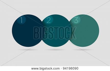 Vector illustration of simple circle infographics in blue color over grey background
