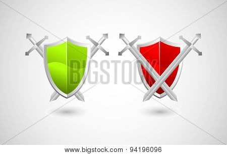 Vector illustration of shield and swords, security concept