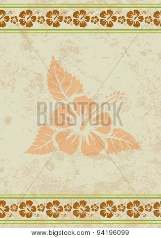 Vector grungy aloha background with tropical hibiscus flower, eps10