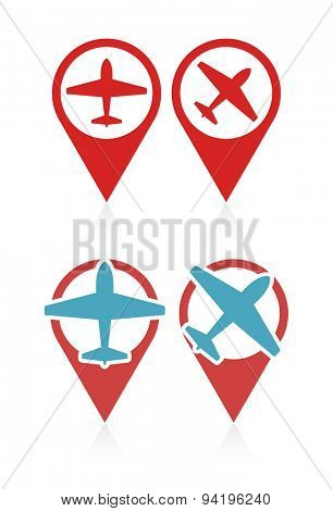 Vector set of pointers with airplane, travel and vacation symbol