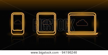 Vector neon technology icons in orange color on black background
