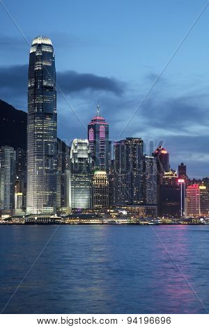 Evening Skyline Of Hong Kong Island And Victoria Harbour