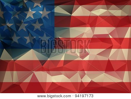 Abstract Polygonal Triangle Usa Flag Background, Geometric Low Poly Illustration. Polygonal Poster