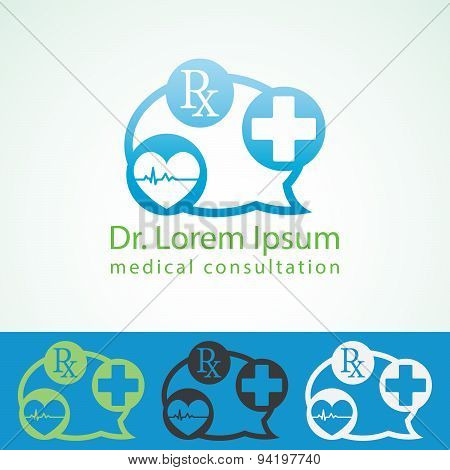 Medical Pharmacy Logo Design Template. Medic Cross Icon Heart With Cardiogram. Doctor Consultant Ide