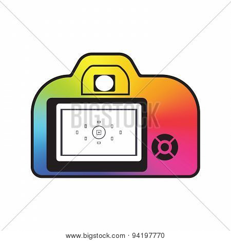 Professional Photocamera Icon Filled With Color Conical Gradient Isolated. Photo Logotype Mock Up. P