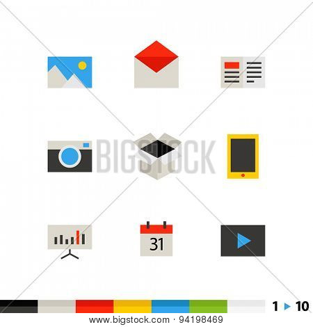 Different flat design web and application interface icons collection. Set 1 of 10