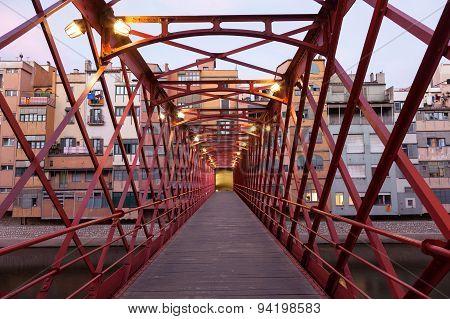 Pedestrian Bridge In Girona, Spain