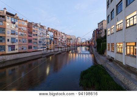 Town Of Girona At Dusk, Spain