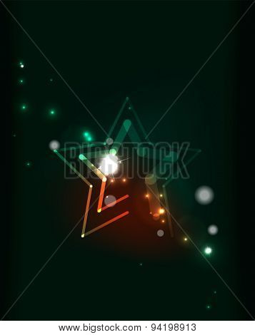 Abstract color glowing lines in dark space with stars and light effects. Futuristic background with copyspace for your message