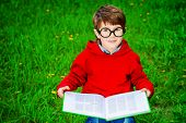 image of 7-year-old  - Cute 7 years old boy sitting on a grass and reading a book - JPG