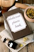 stock photo of roughage  - Medicinal plants book with dried herbs and bottles on table close up - JPG
