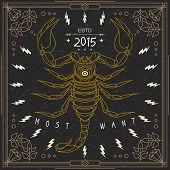 picture of scorpion  - Vintage thin line scorpion label - JPG