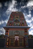 foto of indian  - An ancient Indian temple gate with south Indian traditional architectured newly colored - JPG