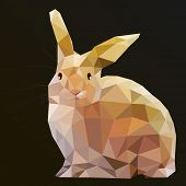stock photo of wild-rabbit  - Low Poly Hare Rabbit vector art from my Wild Life low poly series - JPG