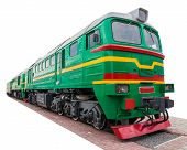 stock photo of locomotive  - the old green locomotive on a white background - JPG