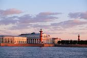 pic of sankt-peterburg  - Landscape with the image of rostral columns near the Neva river in St - JPG