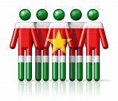 image of suriname  - Flag of Suriname on stick figure  - JPG