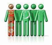stock photo of turkmenistan  - Flag of Turkmenistan on stick figure  - JPG