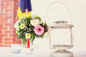 image of lamp shade  - Capture of Flowers and lamp on table - JPG