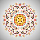 picture of aztec  - Ornamental round colorful pattern in aztec style - JPG